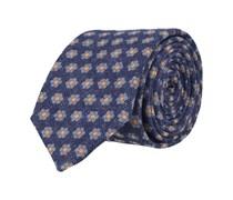 Schmale Krawatte Navy Blau - Blümchen