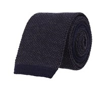 Schmale Krawatte Wolle Navy Blau Basic