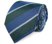 Seiden Krawatte Marine Grün Gestreift