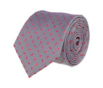 Klassische Seidenkrawatte Krawatte Seide Blau - Rote Blätter