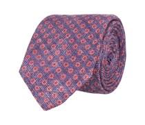 Schmale Krawatte Lila Blümchenmuster Rot