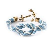 Nantucket Anker Knotenarmband Hellblau-Weiß