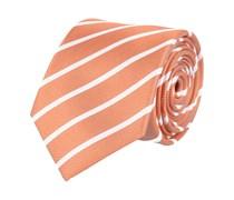 Klassische Seidenkrawatte Orange - Weiß Gestreift