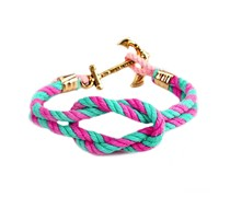 Maddy Palm Hammock Anker Armband Pink-Türkis