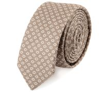 Krawatte Schmal Khaki Gepunktet