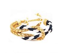 Nautical Star Anker Armband Marine-Weiss-Gold