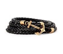 The Kraken Leder Anker-Armband Schwarz