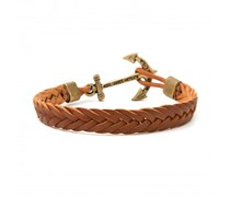 Harkin Chestnut Leder Anker Armband Braun