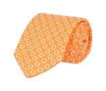 Krawatte Leinen Orange Kreismuster