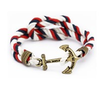 Jack and Bobby Rig Ankerarmband Blau-Rot-Weiss