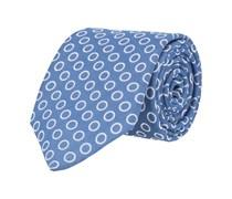 Krawatte Leinen Blau Kreismuster