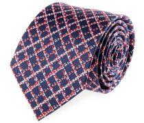 Krawatte Seide Rauten Blau-Rot