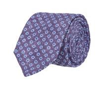 Schmale Krawatte Blau Blümchenmuster