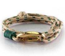 Armband Lanyard Wrap Beige & Dark Green Polka