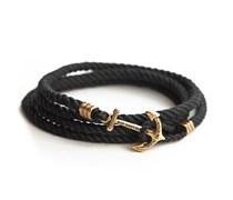 Black Pearl Anker Armband Schwarz