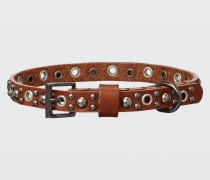 LEATHER LUXE skinny studded dog collar (1cm) S