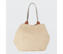 EFFORTLESS TOUCH jute cotton bag with woven leather handles