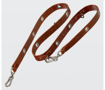 LEATHER LUX wide studded leash (3cm)