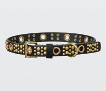 LEATHER LUXE studded dog collar (2cm) M