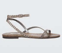 LUXURIOUS LIZARD Lizard Mix Flat Sandal