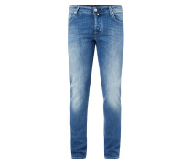 Stone Washed Jeans mit Knopfleiste