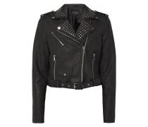 Cropped Jacke im Biker-Look - beschichtet