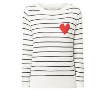 Pullover mit Streifen und eingestricktem Motiv