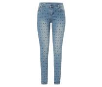 Stone Washed Skinny Fit Jeans mit Ziersteinbesatz