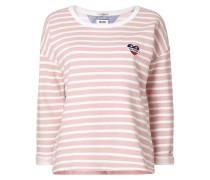Sweatshirt mit Herz-Aufnäher und Streifenmuster