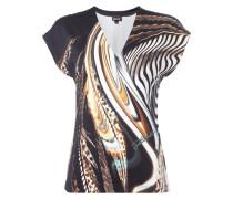 Shirt mit tiefem V-Ausschnitt und Animalmuster