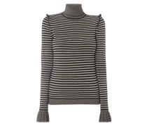 Rollkragen-Pullover mit Streifen und Rüschen