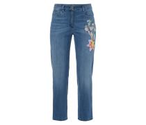 Jeans mit floralen Stickereien