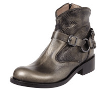 Booties aus echtem Leder in Metallicoptik