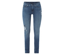 Stone Washed Skinny Fit Jeans mit Stickereien