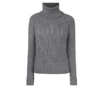 Rollkragen-Pullover mit Strickmuster