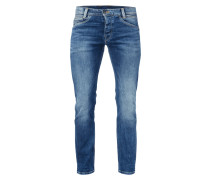 Stone Washed Slim Fit Jeans mit Knopfleiste
