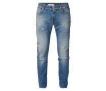 Slim Fit Jeans im Used Look - 32er Beinlänge