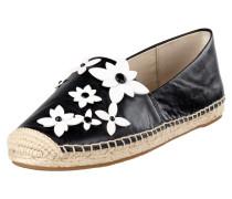 Espadrilles aus Leder mit floralen Applikationen