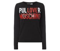 Pullover mit Message-Print und Logo