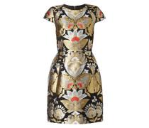 Kleid mit floralen Stickereien aus Effektgarn