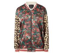Bomber mit floralem Muster und Leopardendetails