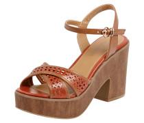 Sandaletten mit Plateausohle in Holzoptik