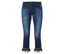 Stone Washed Boot Cut Jeans mit Zierquasten