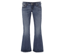 Double Stone Washed Flared Cut Jeans