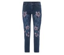 Cropped Jeans mit Blumen-Prints