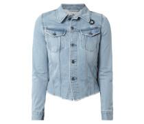 Jeansjacke aus Baumwolle mit Ziernähten