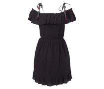 Off Shoulder Kleid mit Zierquasten und Pompons