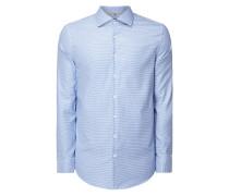 Slim Fit Business-Hemd mit Hahnentritt-Dessin