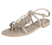 Sandalen aus Veloursleder mit Fransen