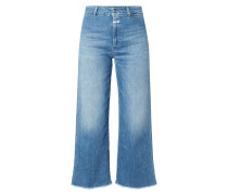 Stone Washed Jeans mit weitem Bein